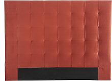 Tête de lit capitonnée velours terracotta 160 cm