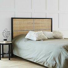 Tête de lit en bois de mindy et rotin 165 - Noir