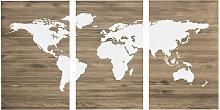 Tête de lit triptyque carte du Cadre en noyernde