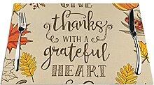 Thanksgiving Day Lot de 6 sets de table