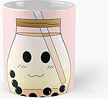 Thé de lait de lait de bulle brun rond Tasse