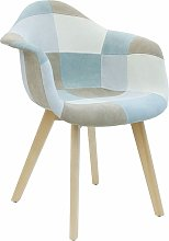 The Home Deco Factory - Fauteuil patchwork bleu