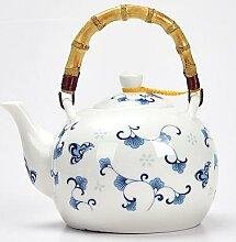 Théière en céramique 1500ML porcelaine bleue et