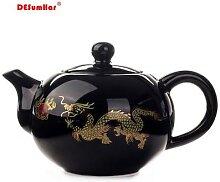 Théière en céramique noire Dragon chinois,