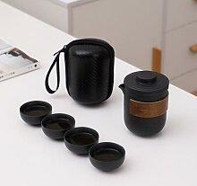 Théière en céramique noire, tasse à thé