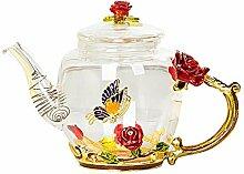 Théière en verre de fleur de cristal en émail