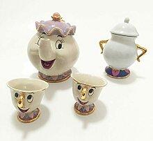 Théière et tasse Mrs Potts avec motif de dessin