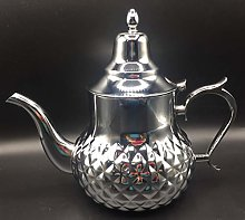 Théière marocaine en acier inoxydable décorée