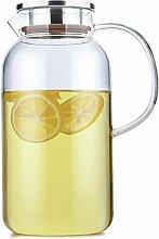 Théière Teapot Pichet en verre avec couvercle en