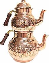 Théière turque ottomane en cuivre - Double