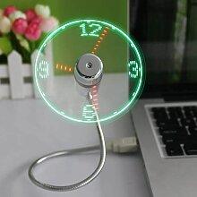 Thsinde - Mini ventilateur d'horloge USB, Col