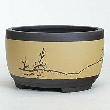 Thwarm Bonsai Pot de fleurs en céramique rondes