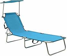 Tidyard Chaise Longue Pliable avec Auvent Transat