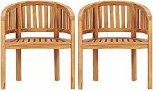 Tidyard Lot de 2 Chaise de Jardin en Bois Solide