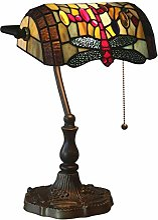 Tiffany Style Bankers Lampe de Bureau Dragonfly