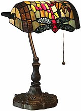 Tiffany Style Lampe de Banquier,Libellule Vitrail