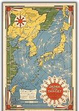 Tiiiytu Carte du monde affiche cible nouveau japon