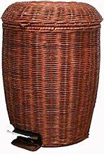 TIKNPOL Bois Poubelle Style Rétro,avec Couvercle