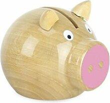 Tirelire cochon bois naturel-rose - vilac - jeux