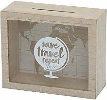 Tirelire de voyage en bois avec inscription «