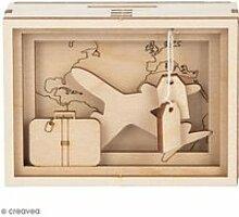 Tirelire en bois à monter - Voyage - 11,5 x 8,5 x