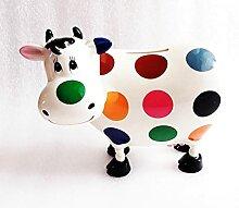 Tirelire Vache Blanche A PASTILLES Multicolores en