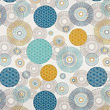 Tissu de décoration Semi panama Cercles – bleu