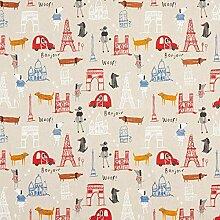 Tissu de décoration Semi panama Chiens à Paris