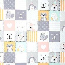 Tissu en coton Cretonne Animaux patchwork amusants