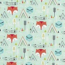 Tissu en coton Cretonne Be Wild Renard – vert