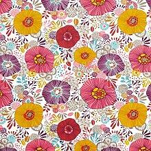 Tissu en coton Cretonne Fleurs – rouge — Vendu