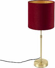 Tissu Lampe de table or / laiton avec abat-jour en