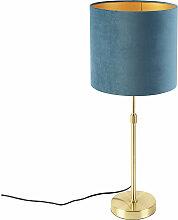Tissu Lampe de table or / laiton avec abat-jour
