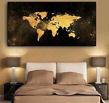 Toile abstraite de la carte du monde en noir et