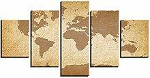 Toile Art mural Carte du monde jaune 5 pièces