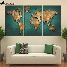 Toile avec carte du monde imprimée HD, 3 pièces,