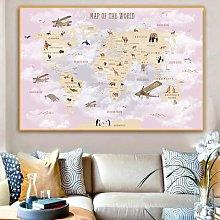 Toile colorée avec avion, carte du monde, affiche