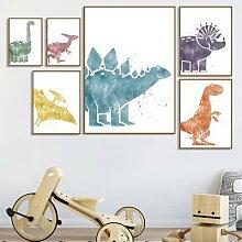 Toile d'art mural de dinosaure, aquarelle,