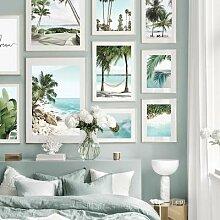 Toile d'art mural de plage, ananas feuille de