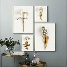 Toile d'art murale feuille plante dorée,