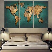 Toile de carte du monde, Art mural Vintage vert