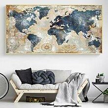 Toile de carte du monde d'aquarelle Vintage,