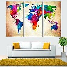 Toile de peinture abstraite de la carte du monde,