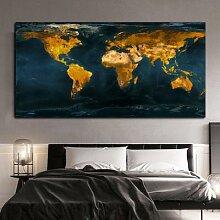 Toile de peinture de carte du monde, rétro,