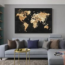 Toile de peinture de carte du monde Vintage,