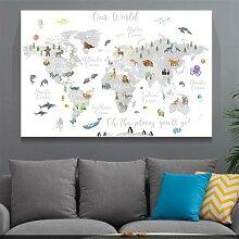 Toile de peinture de la carte du monde des animaux