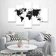 Toile de peinture de la carte du monde en noir et