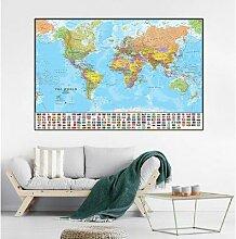 Toile de peinture la carte du monde avec drapeaux