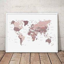 Toile de peinture murale avec écran du monde