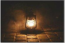 Toile de Peinture Rétro Lampe à Huile Nuit